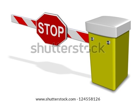A 3d illustration of a car park barrier / Car park barrier - stock photo