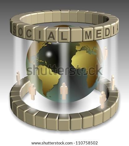 A 3D illustration of a global social media network / Social media network - stock photo