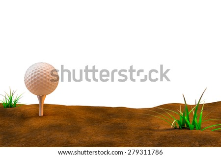 A 3d illustration of a golf ball sitting in a dried out golf course at sunset with an all white background for your own designs. A symbol of the current drought. - stock photo