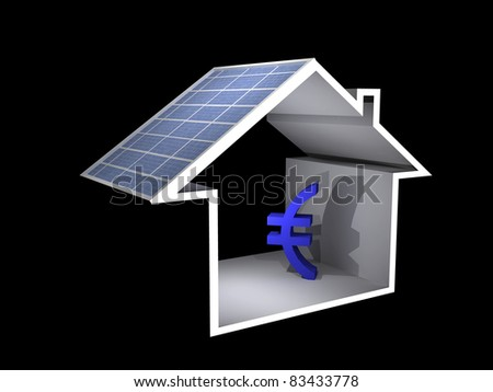 a 3d illustration of a house with solar panel and euro sign