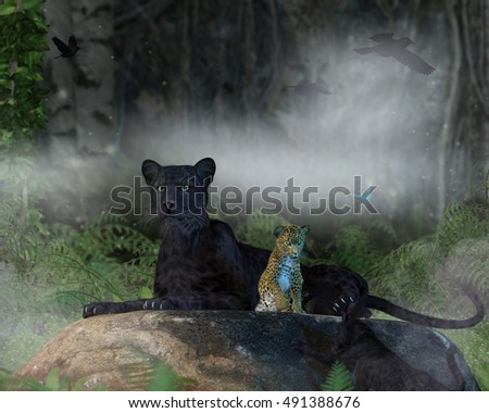 A 3D illustration of a mother panther watching over a baby leopard and baby panther playing near by.