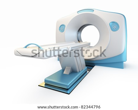 A 3D illustration of a MRI(Magnetic Resonance Imaging) scanner, isolated on white background. - stock photo