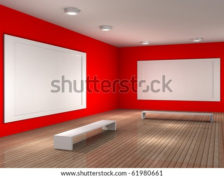 a 3d illustration of a museum room with frame - stock photo