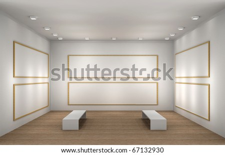 a 3d illustration of a museum with frames - stock photo