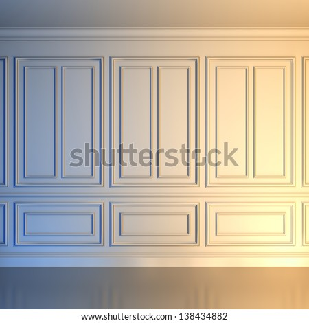 A 3d illustration of a white wall in classical style. - stock photo