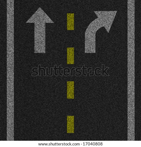 a 2d illustration of an arrow on pavement - stock photo