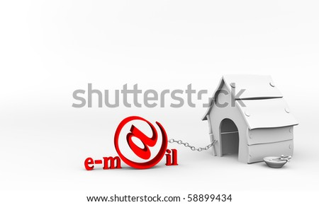A 3d illustration of an E-mail Text - stock photo
