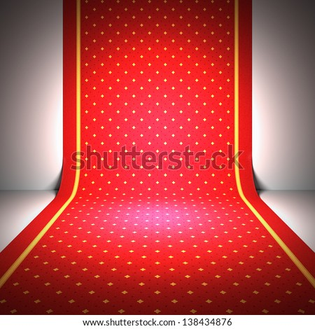 A 3d illustration of an elegant red carpet. - stock photo