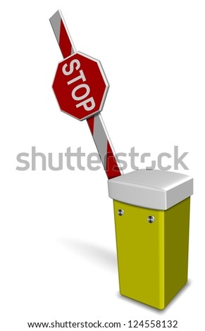 A 3d illustration of an open car park barrier / Car park barrier open - stock photo