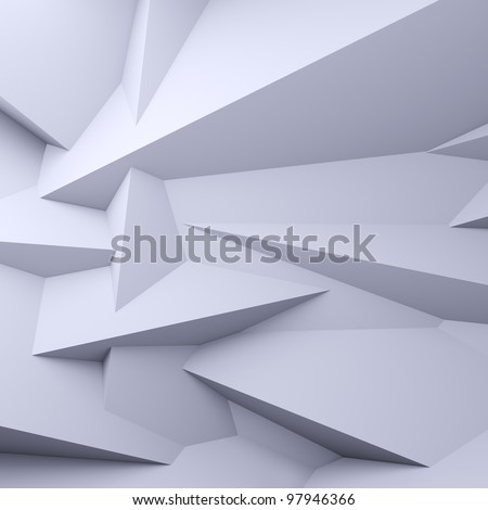 A 3d illustration of blank faceted white background. - stock photo