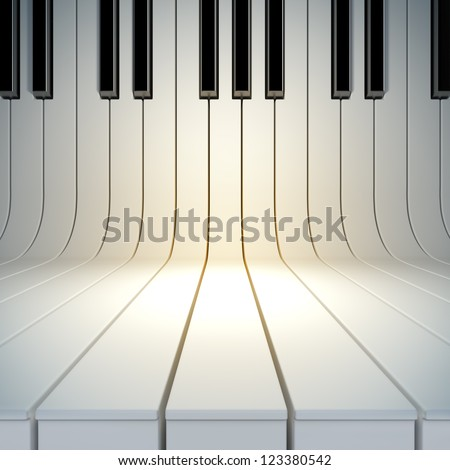 A 3d illustration of blank surface from piano keys. Blank template layout of music placard - stock photo