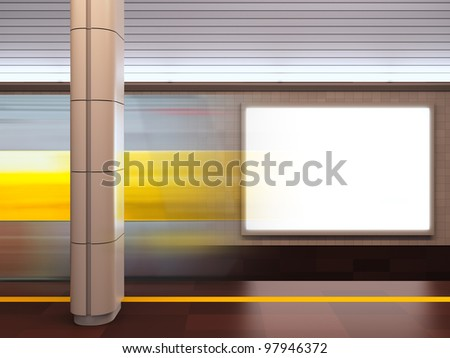 A 3d illustration of blank template billboard at subway station. - stock photo
