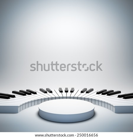 A 3d illustration of blank template layout of empty white jazz or classic music stage. Stage on poster is empty to place your text, logo or object. - stock photo