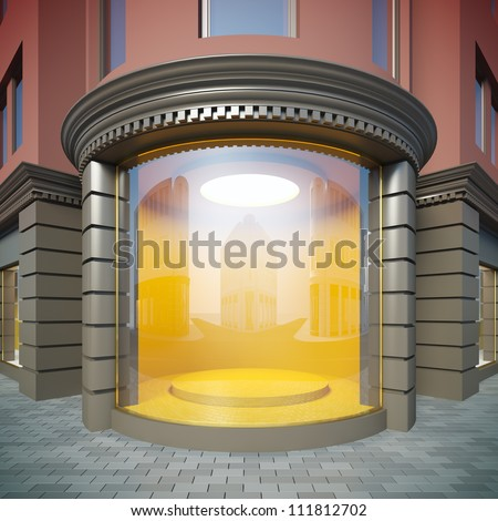 A 3D illustration of corner empty showcase in classical style. - stock photo