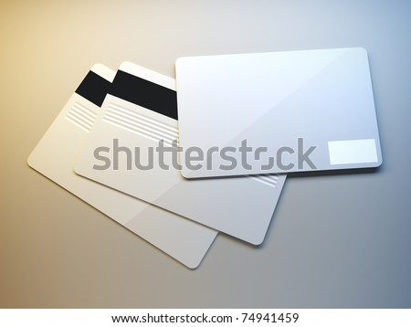 A 3d illustration of plastic credit cards. - stock photo