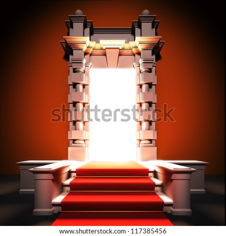 A 3d illustration of red carpet way to classical portal. - stock photo