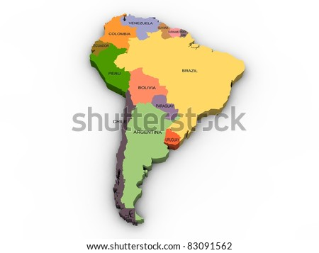 a 3d illustration of south america map and countries - stock photo