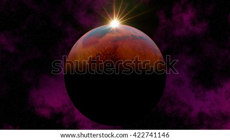 "A 3D illustration of the planet Mars with nebula and a peeking bright sun with stars. This could be any planet in deep space. ""Some elements of this image provided by NASA."" - stock photo"