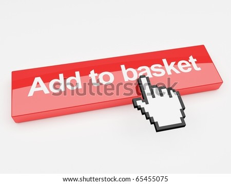 A 3d image of a button with add to basket printed on its face with a mouse pointer. - stock photo
