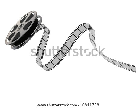 A 3D image of a film reel and film strip - stock photo