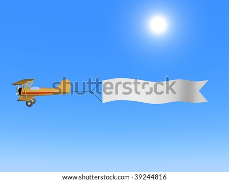 A 3d image of airplane with white blank against blue sky. - stock photo