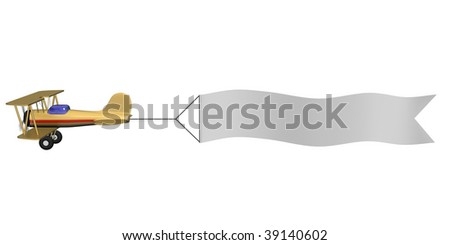 A 3d image of airplane with white blank. Clipping path included. - stock photo