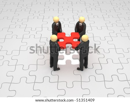 A 3d image of business group solving puzzle.