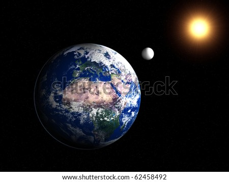 A 3d image of planet Earth with moon. - stock photo