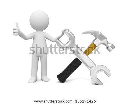 A 3d industrial worker showing thumb up with the wrench and hammer