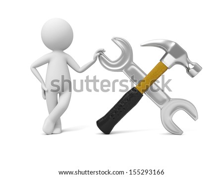 A 3d industrial worker standing by the wrench and hammer