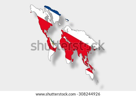 A 3D Isometric Flag Illustration of a map of the world with the flag of  CostaRica - stock photo
