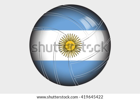 A 3D Isometric Flag Illustration of the country of Argentina