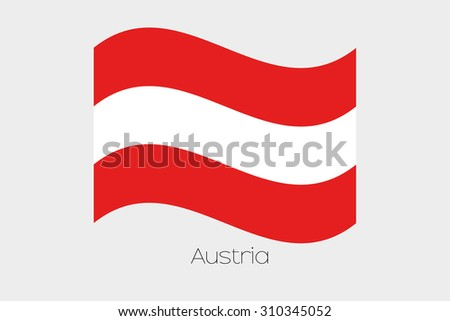 A 3D Isometric Flag Illustration of the country of  Austria