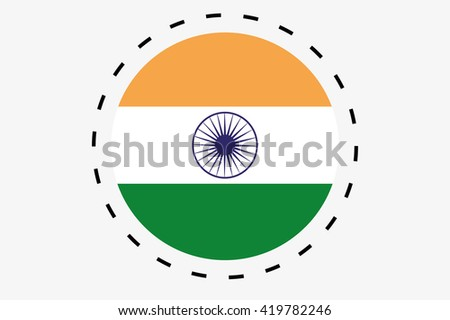 A 3D Isometric Flag Illustration of the country of India