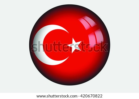 A 3D Isometric Flag Illustration of the country of Turkey