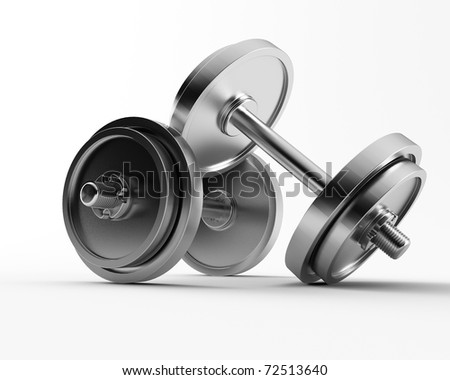 a 3d made group of barbell - stock photo