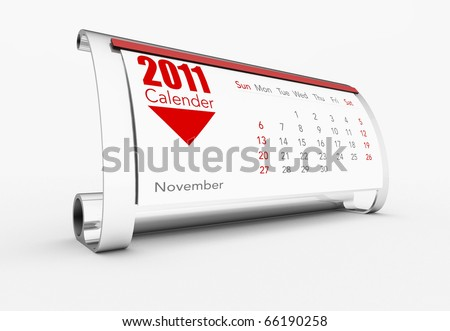 a 3d maded calendar for the year 2011 - stock photo
