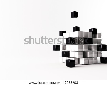 a 3d maded cube - stock photo