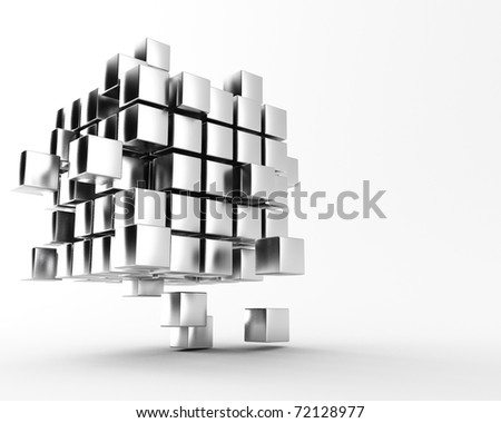 a 3d maded cube get splitted - stock photo