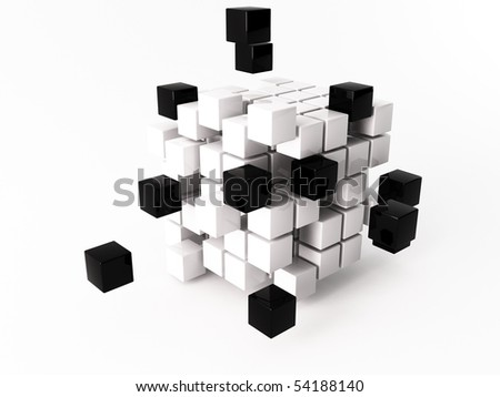 a 3d maded cube on a white background - stock photo