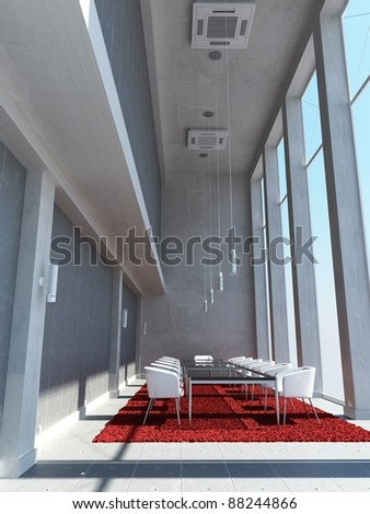 a 3d maded meeting room - stock photo