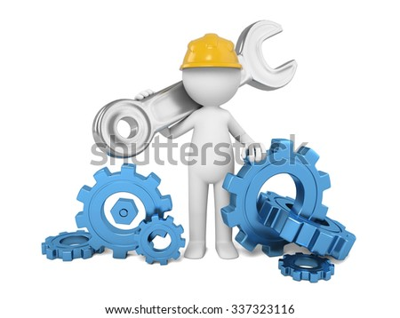 A 3D maintainer and some tools - stock photo