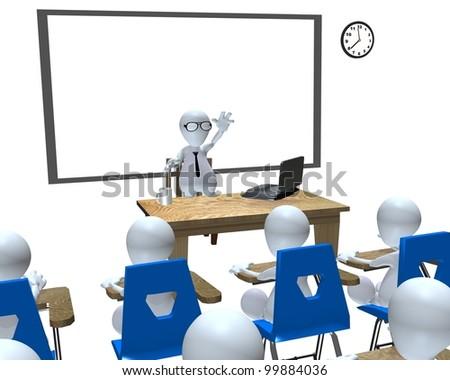 A 3d man classroom presentation classroom setting - stock photo