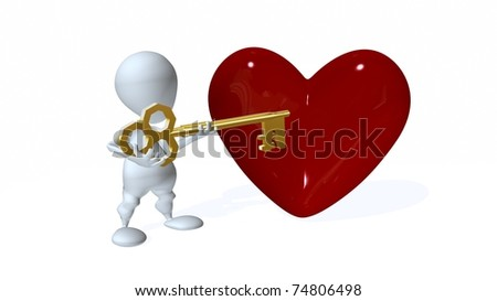 A 3d man holding a key to a heart - stock photo