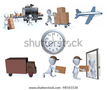 A 3d man illustration of speedy package deliveries - stock photo