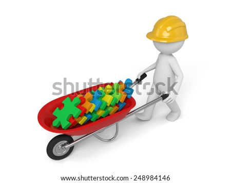 A 3d man in a helmet carry in a wheelbarrow clay puzzles. Isolated on a white background - stock photo