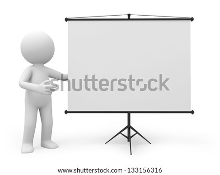 a 3d man introducing something, standing by a projector - stock photo