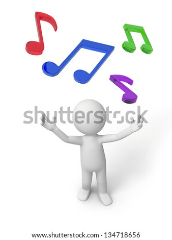 A 3d man looking upon a few notes - stock photo