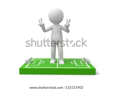 A 3d man standing on a football field model, victory - stock photo