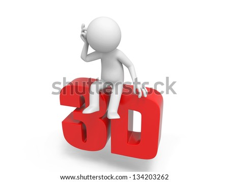 A 3d man thinking on a 3d word
